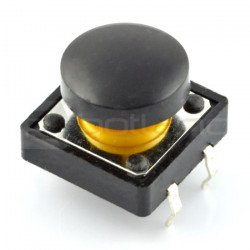 Tact Switch 12x12 mm with round cap - black