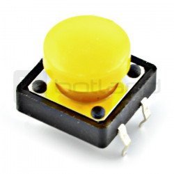 Tact Switch 12x12 mm with round - yellow cap