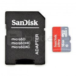 SanDisk micro SD / SDHC memory card 16GB UHS 1 class 10 with adapter