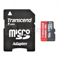 Transcend Premium micro SD / SDHC 16GB UHS 1 Class 10 memory card with adapter
