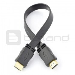 HDMI cable - flat, black 33 cm long