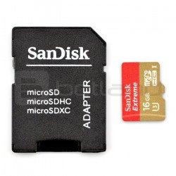 SanDisk Extreme micro SD / SDHC memory card 16GB 600x UHS-I 3 class 10 with adapter