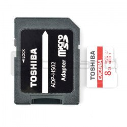 Toshiba micro SD / SDHC 8GB UHS 1 Class 10 memory card with adapter