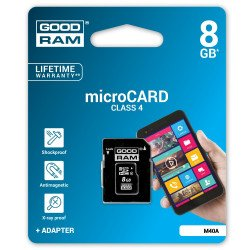Goodram micro SD / SDHC 8GB class 4 memory card with adapter