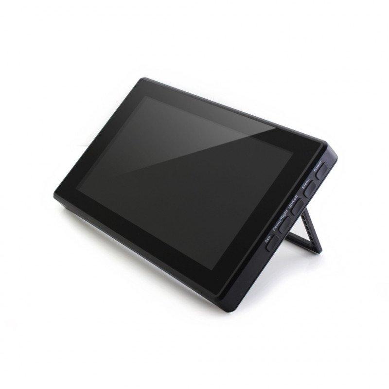 "Touch screen capacitive IPS LCD, 7"" (H) 1024x600px HDMI + USB for Raspberry Pi 3B+/3B/2B/Zero case black"
