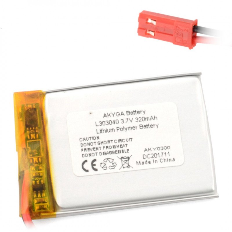 Li-Pol Akyga 550mAh 1S 3.7V battery - JST-BEC connector + socket