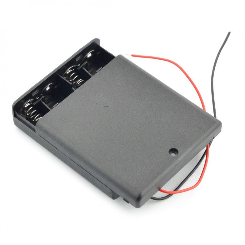 Basket for 4 AA (R6) type batteries with cover and switch