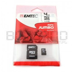 EMTEC micro SD / SDHC 4GB Class 4 memory card with adapter