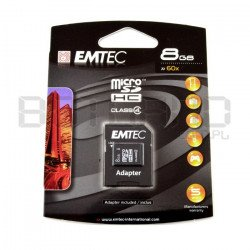 EMTEC micro SD / SDHC 8GB class 4 memory card with adapter