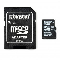 The memory card Kingston microSD / SDHC 300x 16GB UHS-I class 10 with adapter