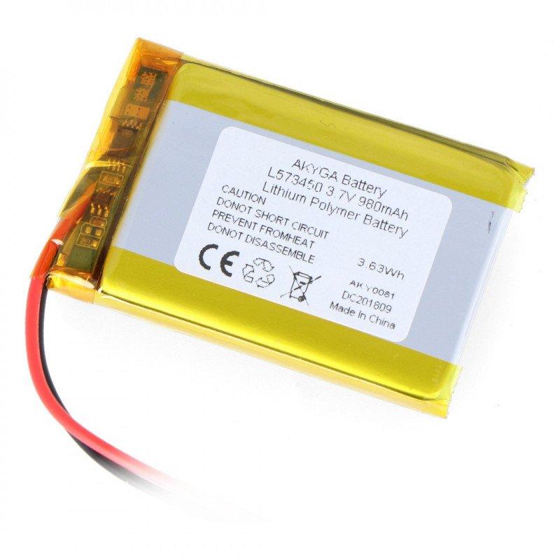 Li-Pol Akyga 980mAh 1S 3.7V Li-Pol Akyga battery - JST-BEC connector + socket