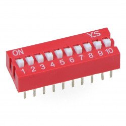 DIP switch 10 switches - red