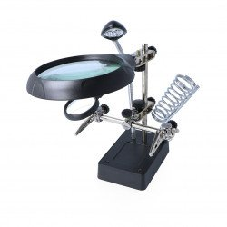 Holder with magnifying glass, LED power supply - third hand ZD-126-3