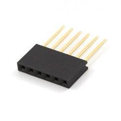 Female socket extended 1x6 raster 2,54mm for Arduino