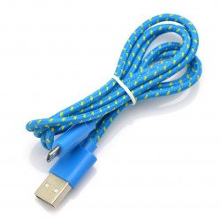 Cable microUSB B - A in blue braid EB175BY - 1m