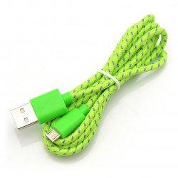 Cable microUSB B - A in green braid EB175GP - 1m