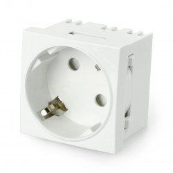 Concealed socket 230V single 45x45mm 16A Schuko - white + connector
