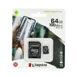 Kingston Canvas Select Plus microSD 64GB 100MB/s UHS-I Class 10 memory card with adapter