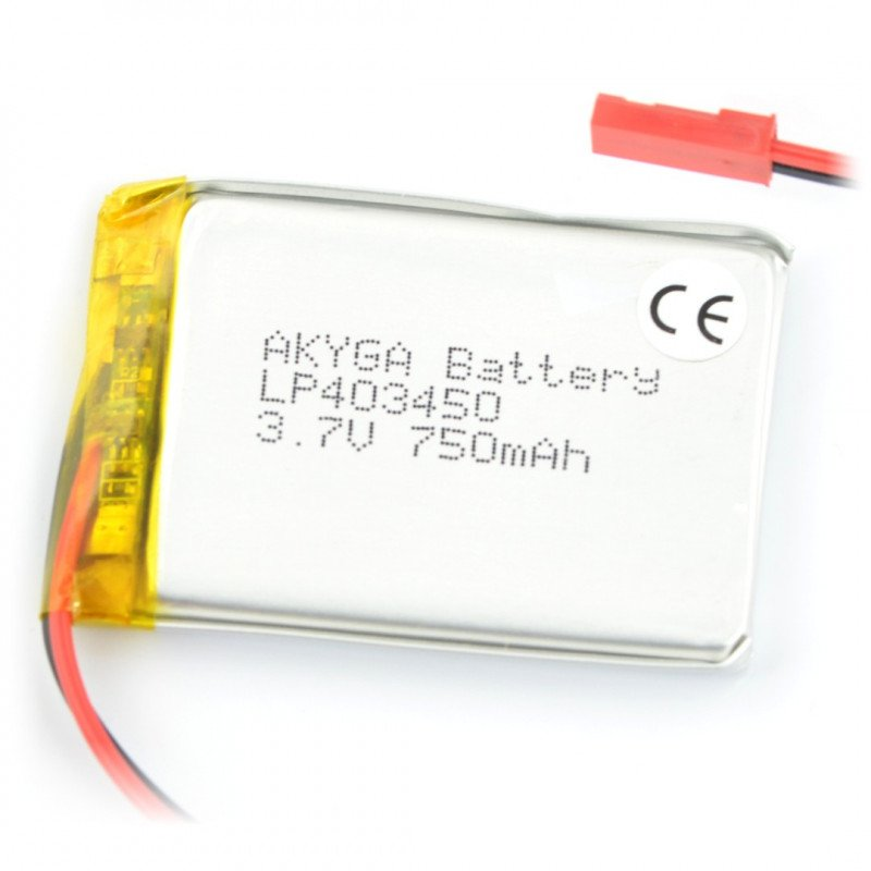Battery Li-Pol Akyga 750mAh 1S 3.7V - JST-BEC connector + socket