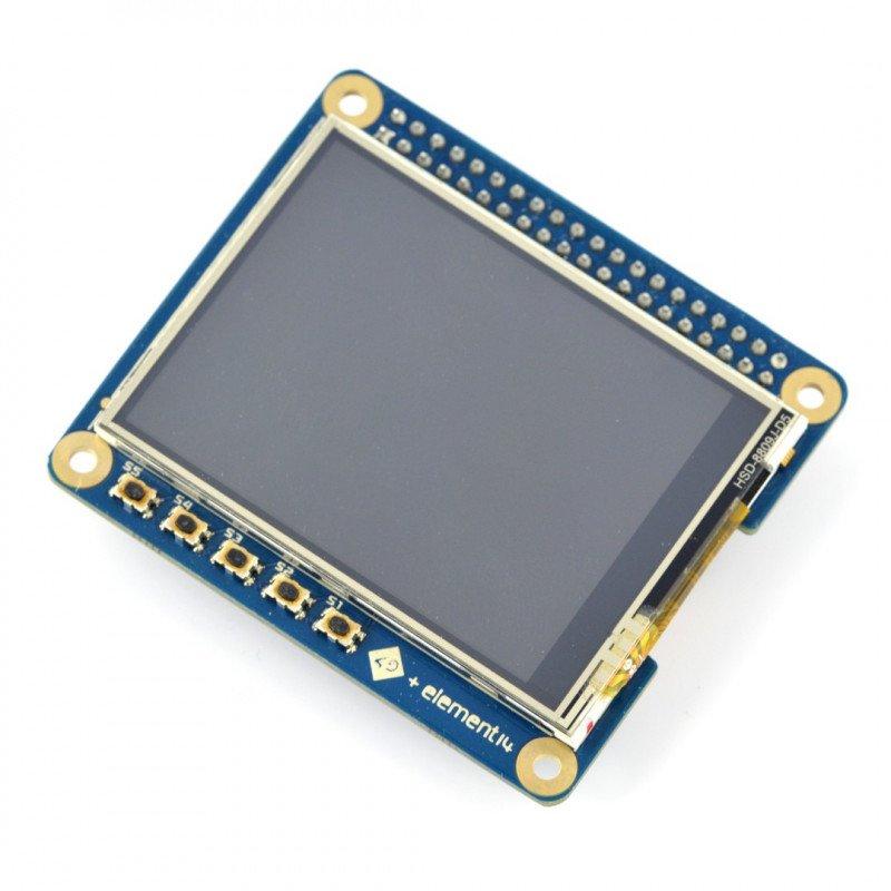 "Resistive touch screen TFT LCD 2,4"" 320x240px GPIO 4DPi-24-HAT for Raspberry Pi 3/2/B+"