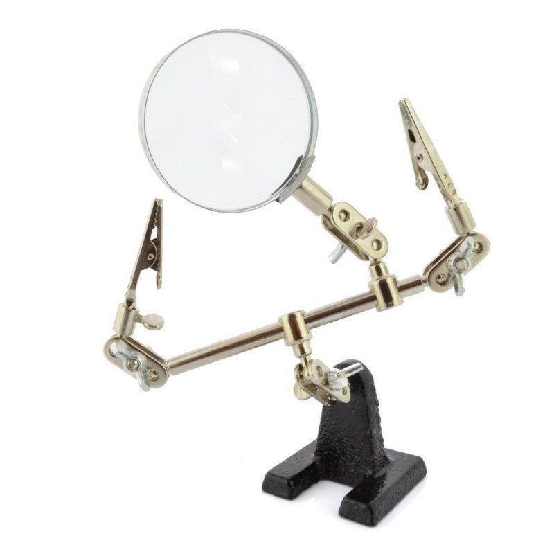 Mounting bracket with magnifying glass - third hand