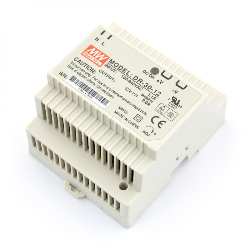 Mean Well DR-30-12 DC power supply for DIN rail - 12V/2A