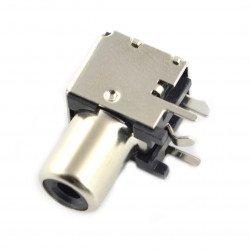 RCA female angled shielded THT female socket with black marker