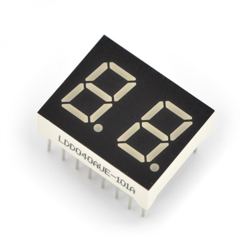 Dual alphanumeric display - 10mm red - wsp cathode