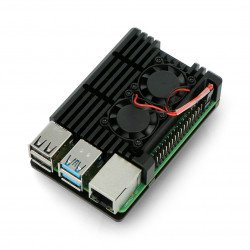 Raspberry Pi 4B - aluminium with two fans - black