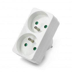 Double splitter for 230V AC socket - 2 circular