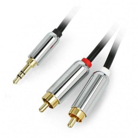 Jack 3,5mm - 2xRCA cable - black 2,5m - Blow