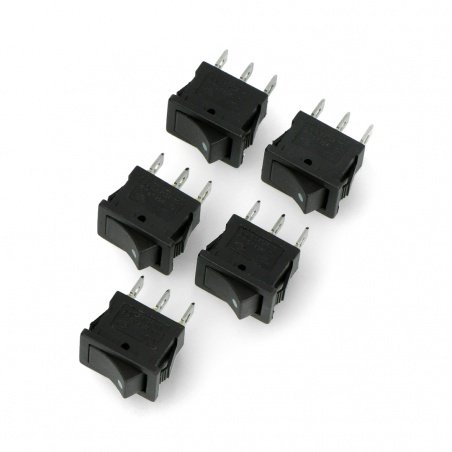 Rocker switch MRS101B-C3B 250V / 6A - 5pcs.