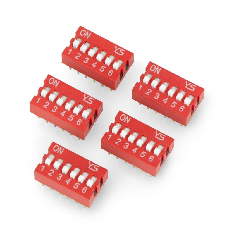 6 pole DIP switch - red - 5 pcs.