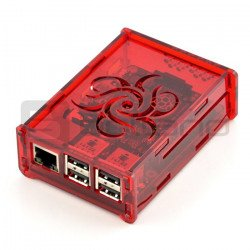 Case Raspberry Pi Model 3B + / 3B / 2B Flower - transparent red_