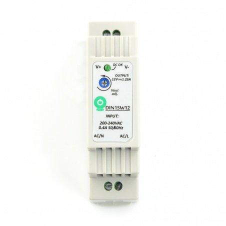 Power supply DIN15W12 for DIN rail - 12V / 1,25A / 15W