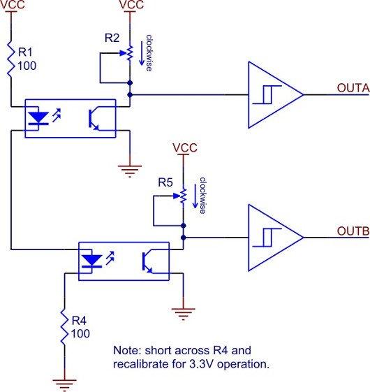 Schemat enkoderów optycznych Pololu