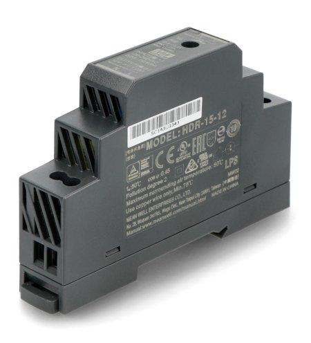 Zasilacz Mean Well HDR-15-12 na szynę DIN.