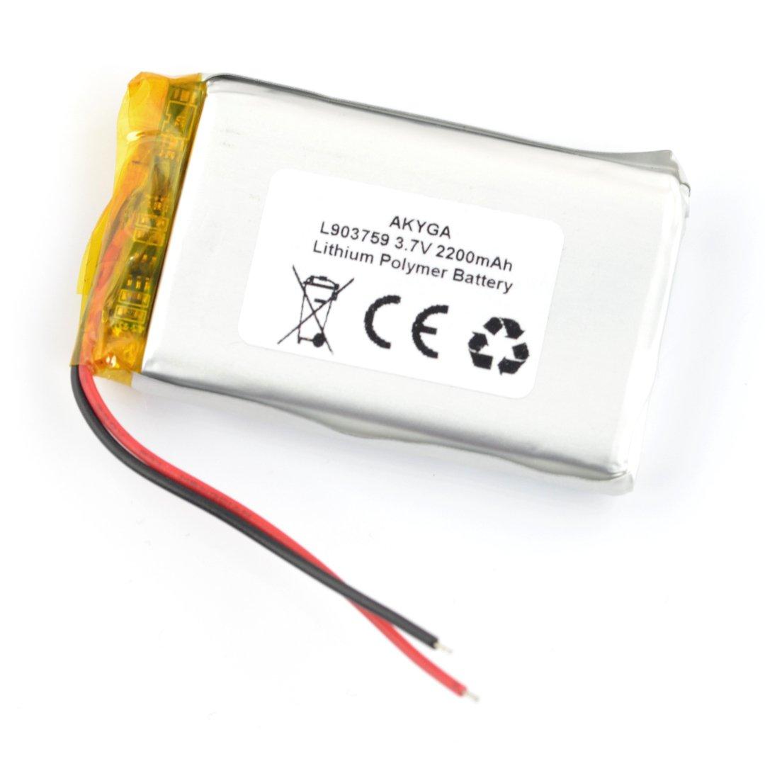 Akumulator Li-Pol Akyga 2200mAh 1S 3,7V - przewody - 59x37x9mm
