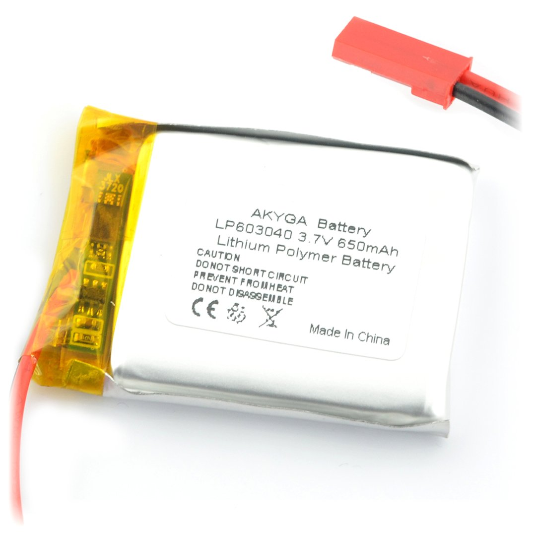 Akumulator Li-Pol Akyga 270mAh 1S 3,7V - złącze JST-BEC + gniazdo