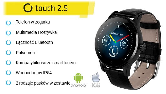 SmartWatch Touch 2.5 - inteligentny zegarek IPS