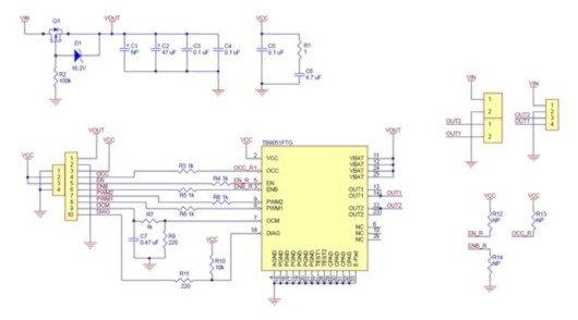 Schemat sterownika silników pololu