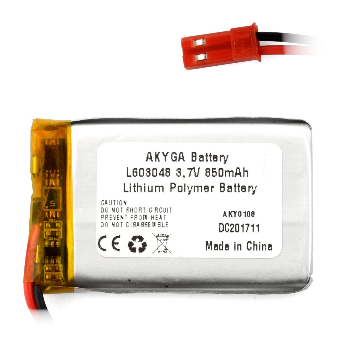 Akumulator Li-Pol Akyga 850mAh 1S 3,7V - złącze JST-BEC + gniazdo