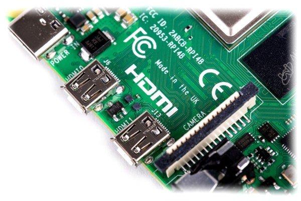 Raspberry Pi 4 - złącza microHDMI