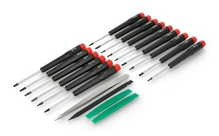 Zestaw zawiera 19 narzędzi przeznaczonych do prac serwisowych.