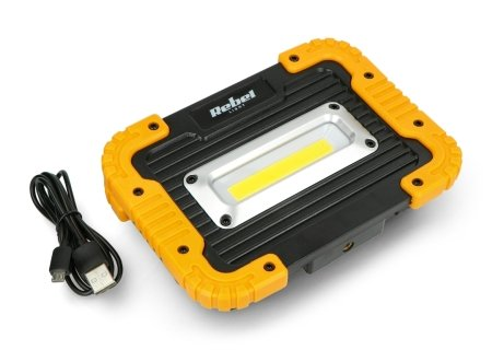 Reflektor akumulatorowy LED z przewodem USB, 10W, 900lm, IP44, 3,7V, 4000K