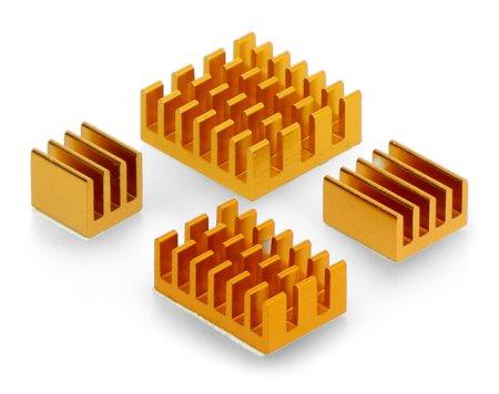 Zestaw radiatorów do Raspberry Pi 4 - złote z taśmą termoprzewodzącą - 4 szt.