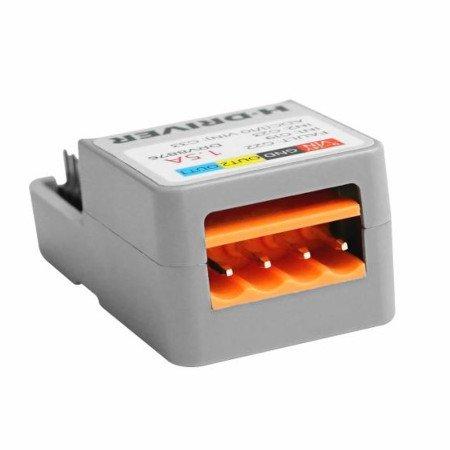 Do zestawu dołączono 4-pinowe złącze śrubowe umożliwiające podłączenie silnika prądu stałego oraz doprowadzenia zasilania.