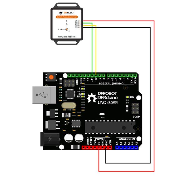 Schemat podłączenia czujnika z płytką mikrokontrolera.