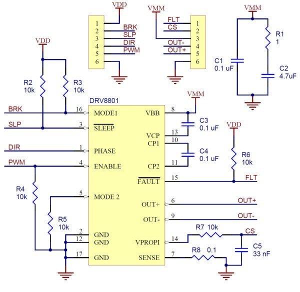 Schemat układu sterownika silników Pololu
